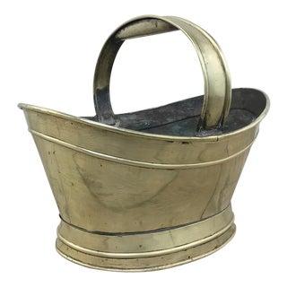 Antique Brass Kindling Basket For Sale