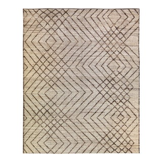 Modern Moroccan Style Beige and Brown Handmade Boho Pattern Wool Rug For Sale