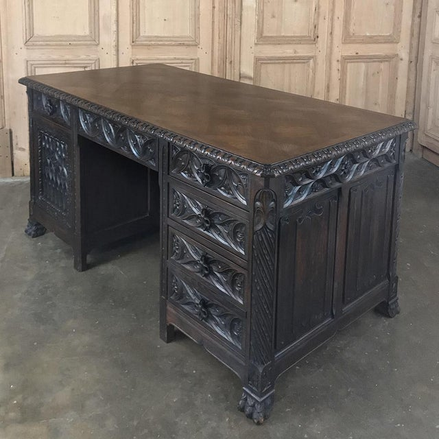Antique French Gothic Parquet Top Desk For Sale - Image 10 of 13