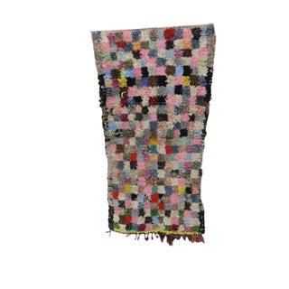 "Moroccan Boucherouite Pink Rug-3'6"" X 6'2"" For Sale"