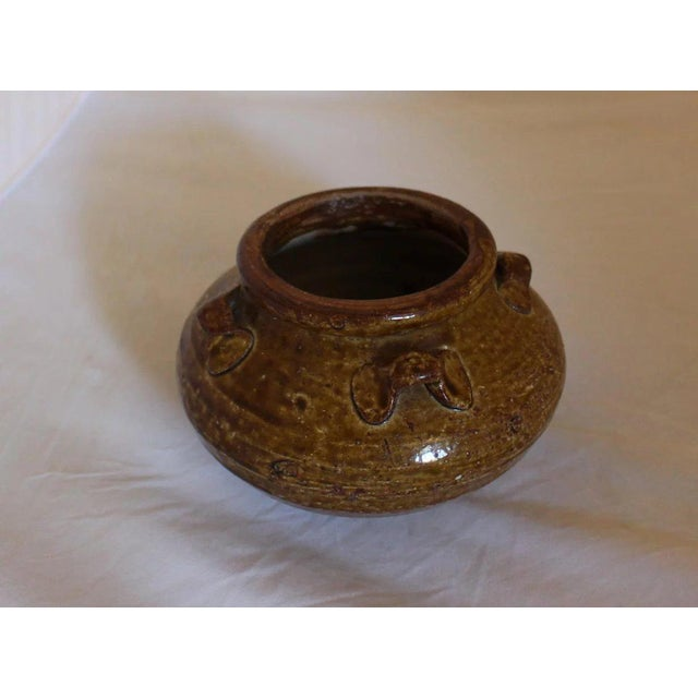 Song Dynasty export jarlet, 4 loop handles, brown-ochre colored glaze. Note grit under rim, typical of Zangzhou kiln...