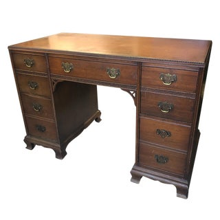 Antique Victorian Carved Walnut Kneehole Office Executives Desk