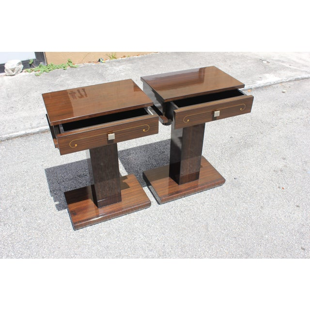 French Art Deco Macassar Ebony Nightstands - A Pair - Image 3 of 10