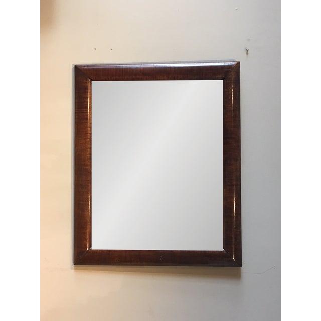 Beautiful 19th century American Empire-wide crotch mahogany veneer farmed beveled glass mirror. Wonderfull figural grain...