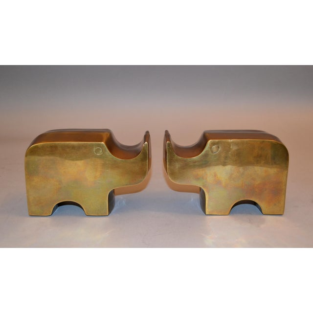 Mid-Century Modern Bronze Rhinoceros Bookends in the Manner of Fratelli Mannelli For Sale - Image 11 of 11