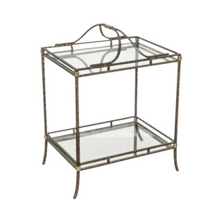 Quality Wrought Iron Glass & Brass 2 Tier Side Table Stand