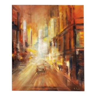 Modern Painting of New York City Street at Night by M. C. Pajeile For Sale