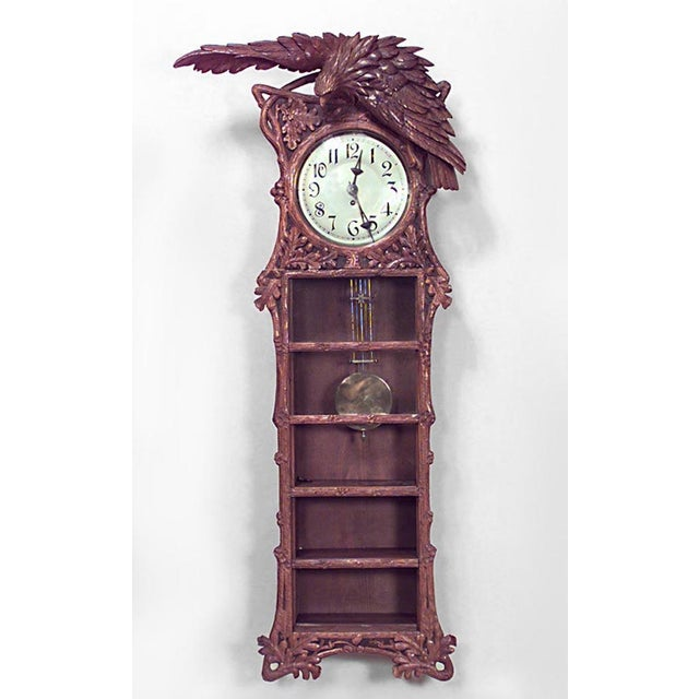 Rustic Rustic Black Forest 19th Century Walnut Wall Clock For Sale - Image 3 of 3
