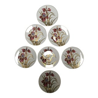 "Fritz and Floyd ""Iris Burgundy"" Salad Plates - Set of 7 For Sale"