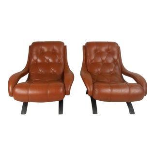 Mid-Century Tufted Leather Lounge Chairs - a Pair