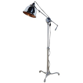 Early 20th Century Club Health Adjustable Nickel Plate Floor Lamp With Copper Lined Shade For Sale
