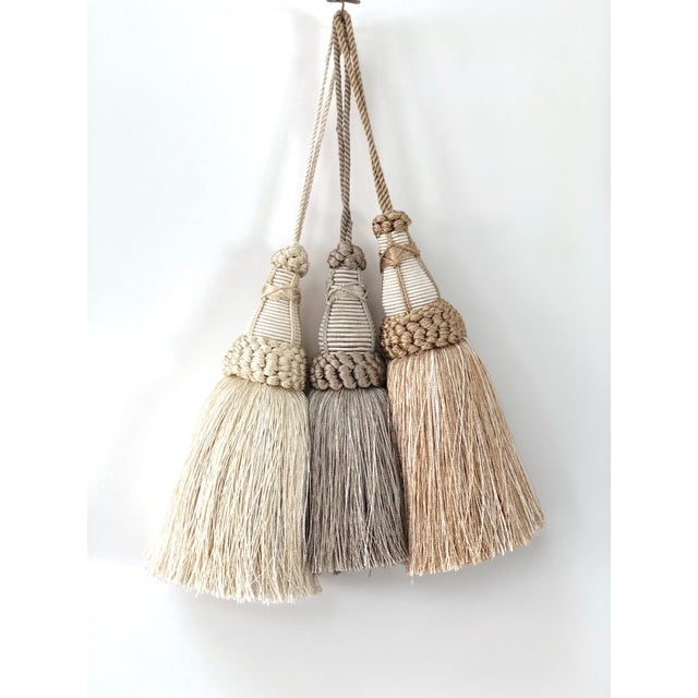 Pair of Key Tassels in Cream With Looped Ruche Trim For Sale - Image 9 of 10