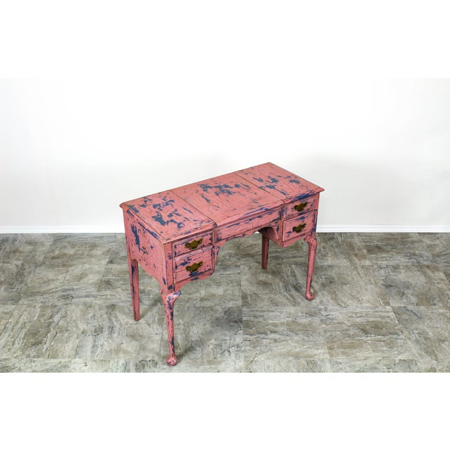 Pink French Provincial Vanity, Provincial Dressing Table, Shabby Chic Vanity Desk, Pink Vanity, Mid Century Vanity Desk, Vintage Vanity For Sale - Image 8 of 12