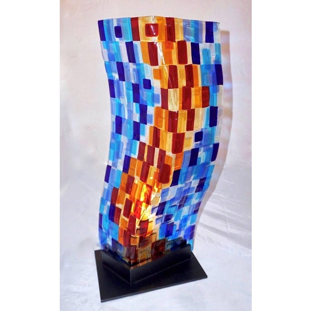 Glass Contemporary Italian Aqua Blue Red Yellow Murano Glass Mosaic Sculptural Lamp For Sale - Image 7 of 11