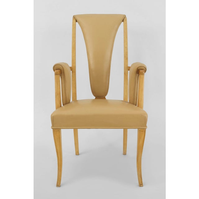 English Art Deco Maple High Back Dining Chairs- Set of 8 For Sale In New York - Image 6 of 7