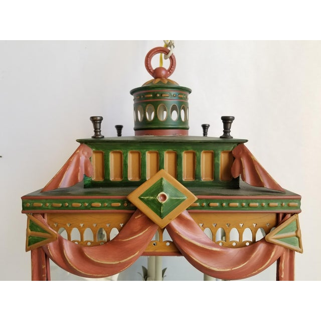 2000s Large Highly Decorative Painted Tole Lantern For Sale - Image 5 of 13