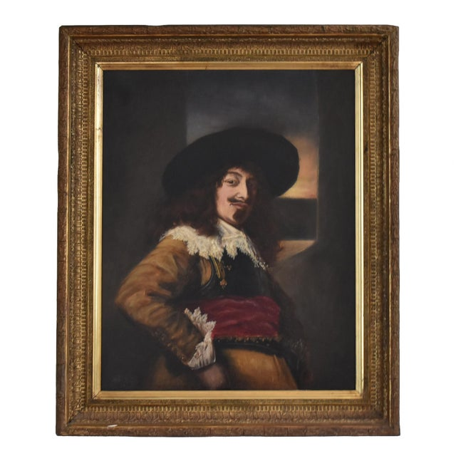 "An antique, 19th-century oil painting copy of the 1638 ""Portrait of an Officer"" by Frans Hals, in an ornate wood and..."