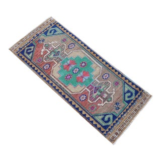 """Hand Knotted Mat Small Oushak Rug - 1'6"""" X 3'7"""" For Sale"""