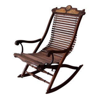 Antique Slat Rocking Chair For Sale