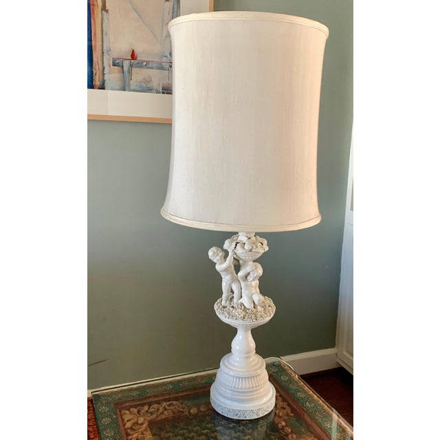 Vintage Porcelain Cherub With Floral Table Lamp For Sale - Image 9 of 9