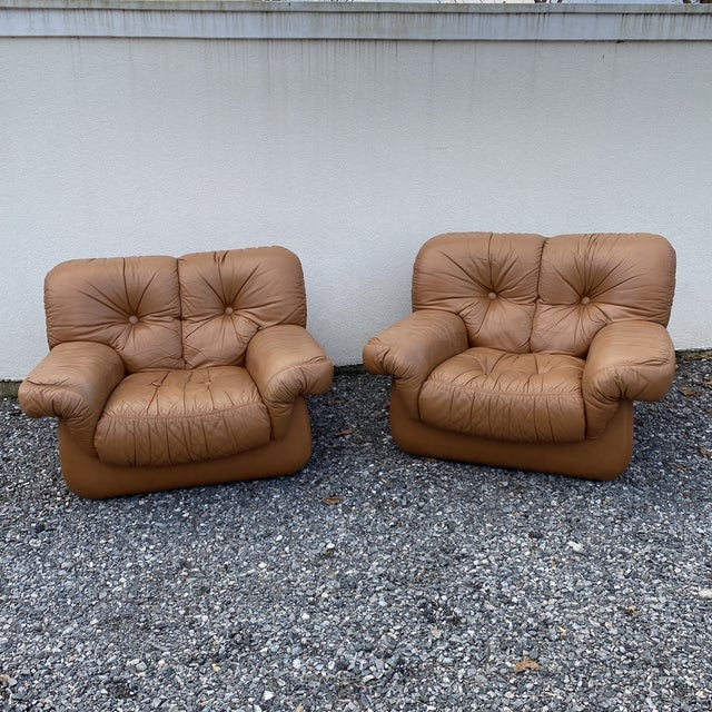 Oversized Italian Leather Club Chairs - a Pair For Sale - Image 13 of 13