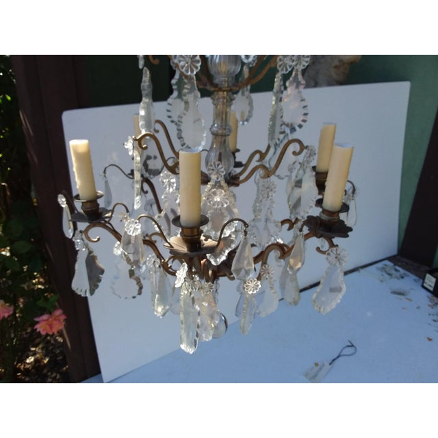 1920s French Bronze and Crystal Cage Style Chandelier For Sale - Image 5 of 13