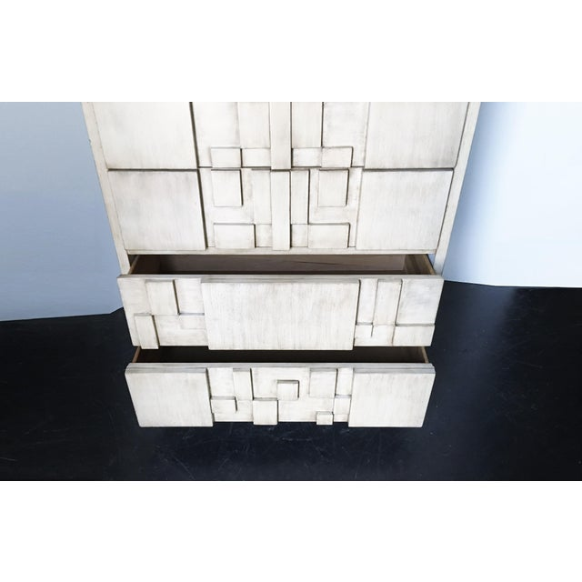 Brutalist White Finish Tall Cabinet or Chest by Lane For Sale In Dallas - Image 6 of 9