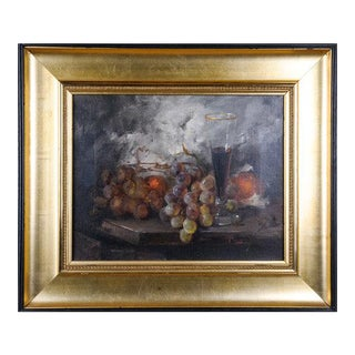 Vintage Mid-Century J Fulti Fruit & Wine Still Life Oil on Canvas Painting For Sale