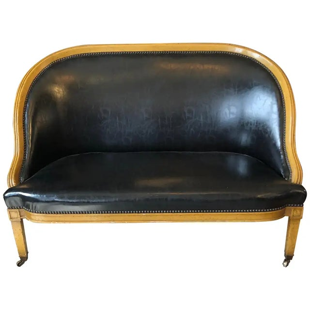 Traditional Fruitwood and Faux Black Leather Loveseat For Sale - Image 9 of 9
