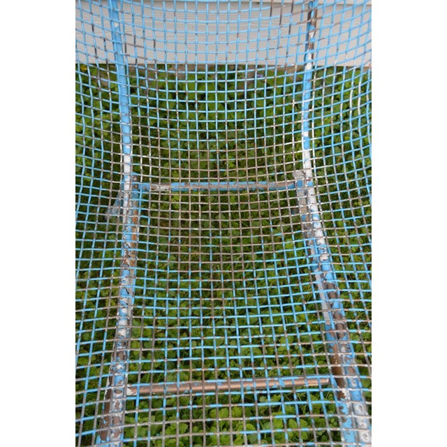 Blue Russell Woodard Sculptura Wire Patio Chairs, Set of 4, in As-Found Sea Sky Blue For Sale - Image 8 of 13