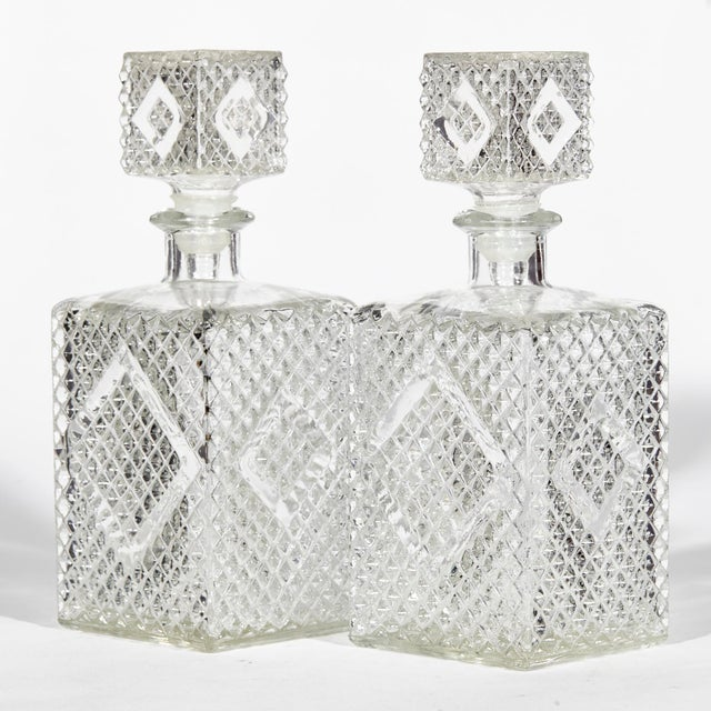 Glass 1960s Textured Square Glass Decanters, Pr For Sale - Image 7 of 7