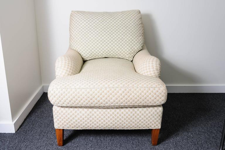 Tan Club Chair And Ottoman With Diamond Star Pattern Cream Colored, Woven