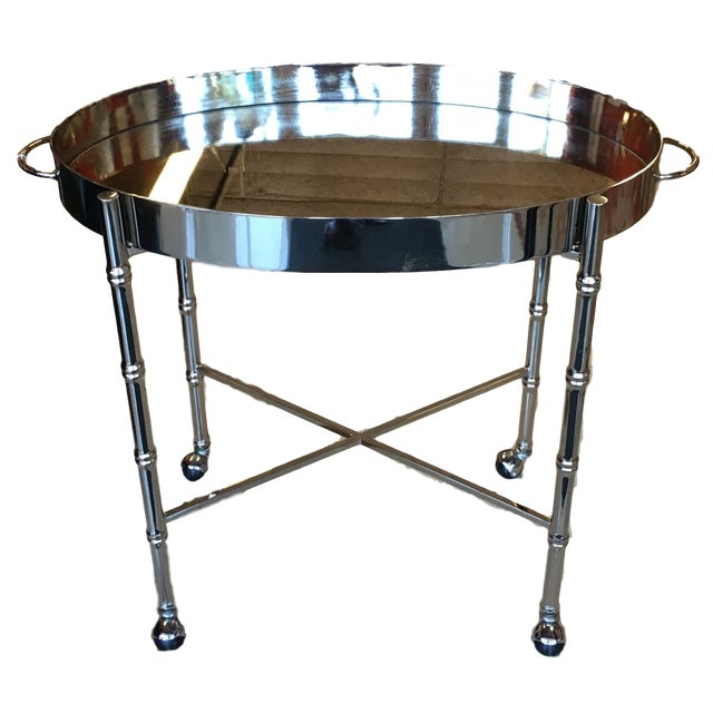 1970s Hollywood Regency Chrome Bar Cart/ Tray-On-Stand For Sale - Image 11 of 11