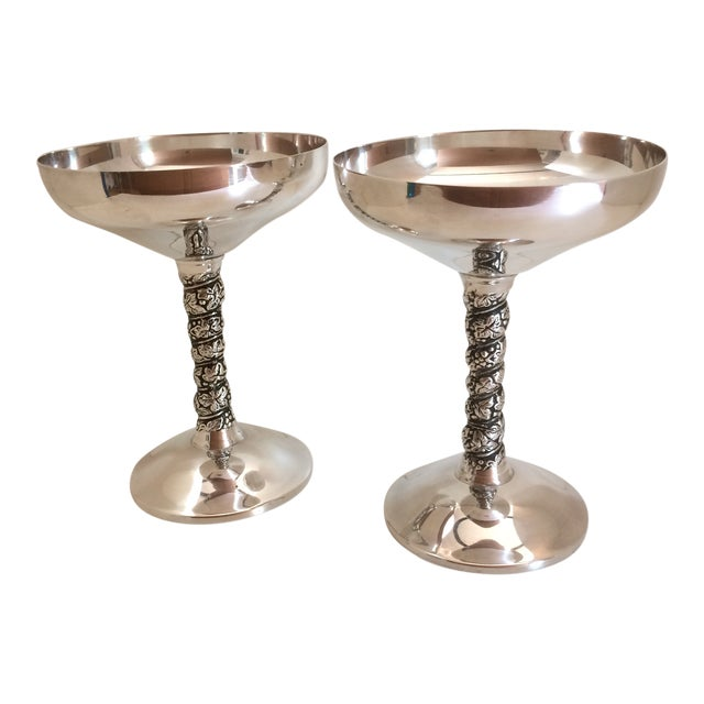 Pair of Vintage Made in Spain Silver Plated Champagne Goblets For Sale
