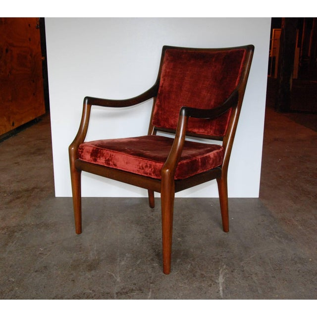 Circa 1960 Style of T.H. Robsjohn-Gibbings Mid-Century Modern Upholstered Armchairs - A Pair For Sale - Image 4 of 8