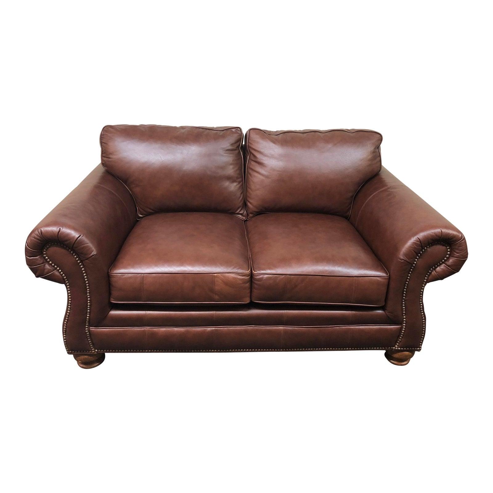 Bassett furniture roll arm leather loveseat chairish