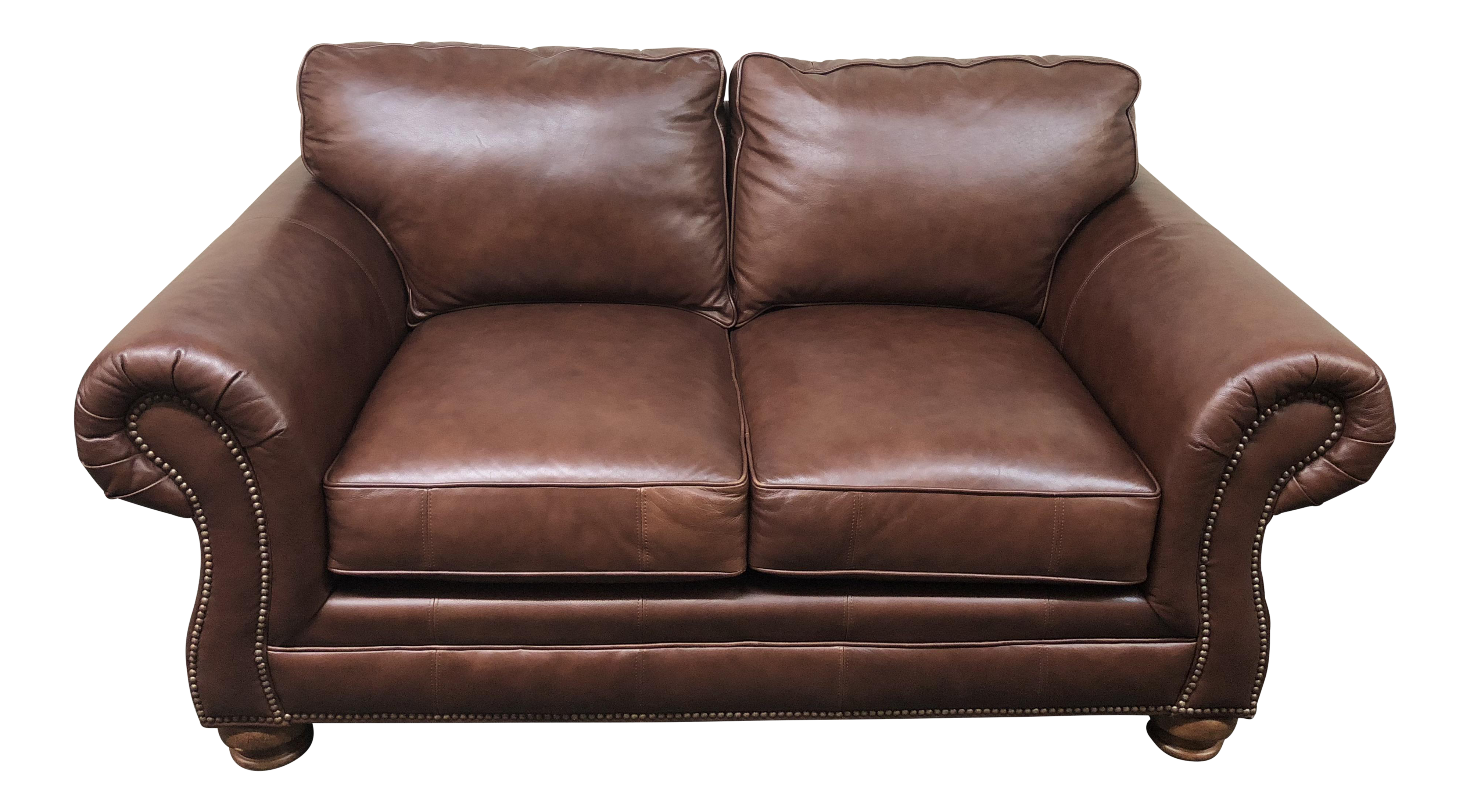 Bassett Furniture Roll Arm Leather Loveseat   Image 1 Of 11