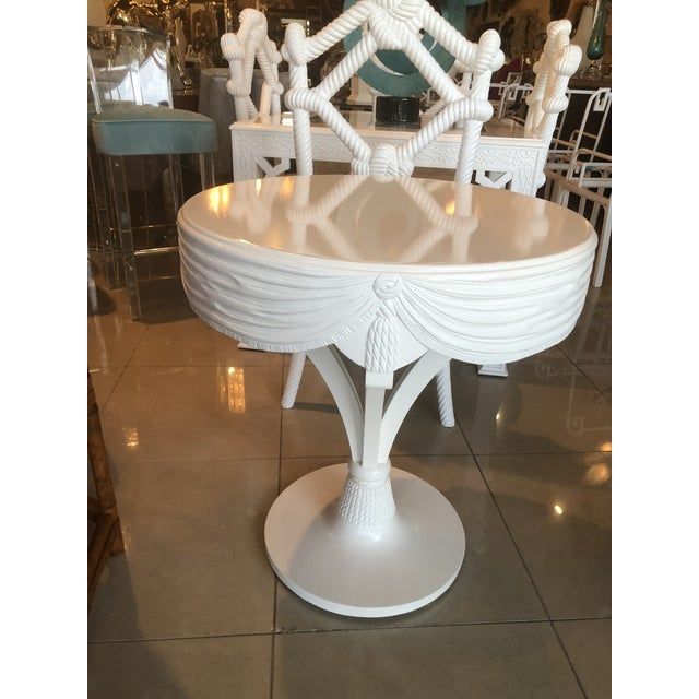 Vintage Grosfeld House White Lacquered Tassel Wood Entry Center Side Table For Sale In West Palm - Image 6 of 9