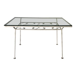 MidCentury Style Wrought Iron Outdoor Dining Table For Sale