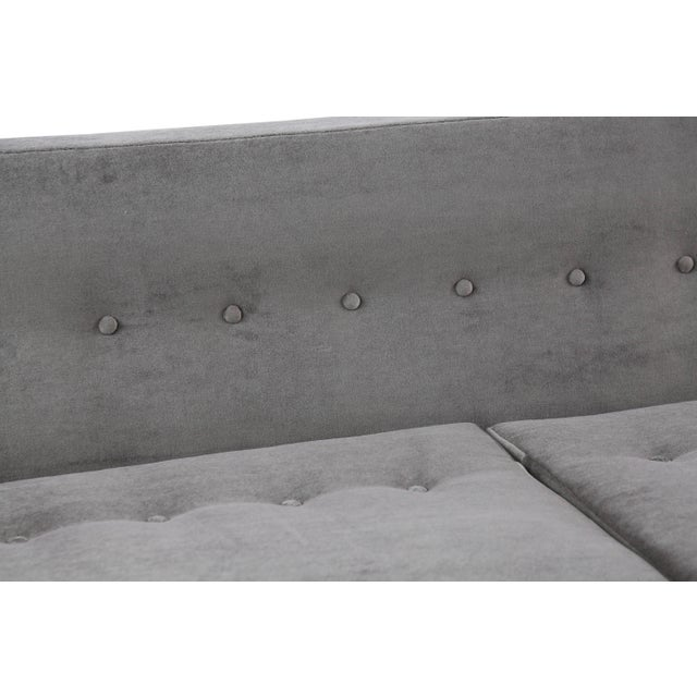 1950s Edward Wormley for Dunbar Bracket Back Sofa in Mohair For Sale - Image 5 of 8
