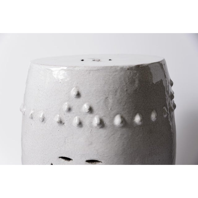 Antique Chinese White Glazed Crackled Terra Cotta Garden Stool For Sale - Image 9 of 13