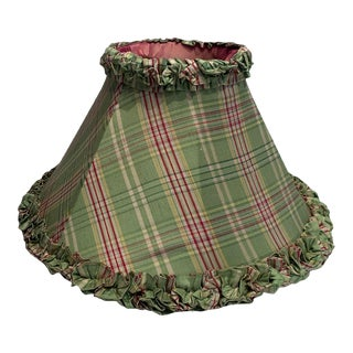 Lee Jofa Silk Plaid Green and Pink Lamp Shade For Sale