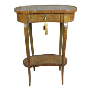 19th century french Parquetry inlaid two tier Kidney Table