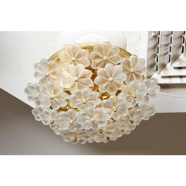 1960s Vintage Daisy Floral Glass Flush Mount For Sale - Image 5 of 10