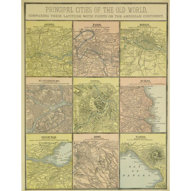 Illustration Antique Map of Principal Cities of the World, 1890 For Sale - Image 3 of 3