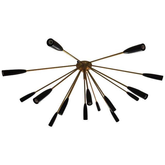 """Metal """"Sputnik"""" Custom Brass/Black Flush Mount Chandelier For Sale - Image 7 of 7"""