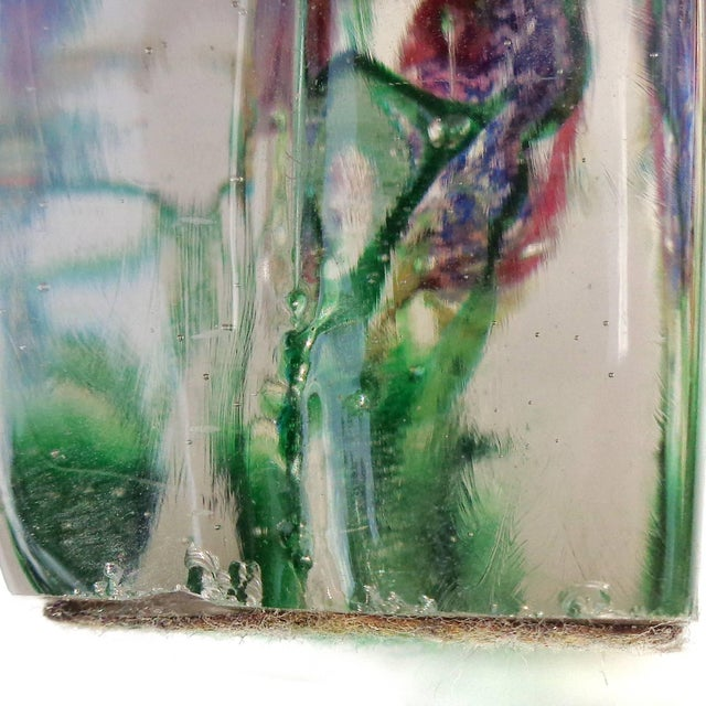 Cenedese Murano Pink Blue Silver Fish Italian Art Glass Aquarium Block Sculpture For Sale In Orlando - Image 6 of 8