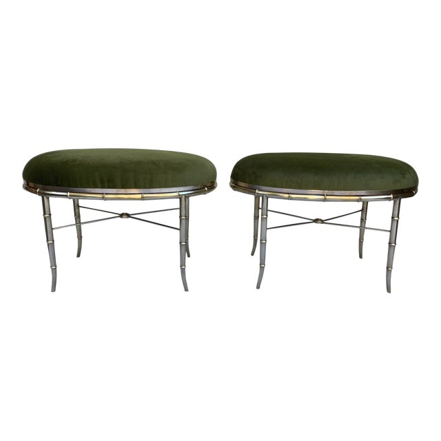 Mastercraft Faux Bamboo Brass Stools, a Pair For Sale