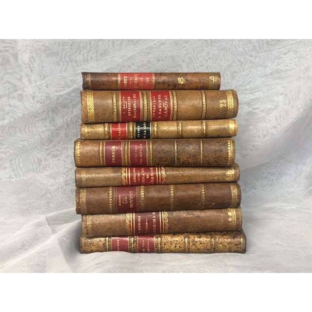 Leather Antique Leather Bound Spanish Books - Set of 8 For Sale - Image 7 of 13