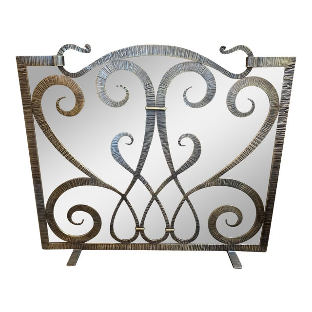 Custom Steel Fire Place Screen in Gilded Black Finish For Sale